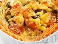 Пълнена зелка с пилешко месо, картофи и тиквички